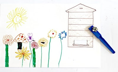 Bee hive and flower garden craft for kids