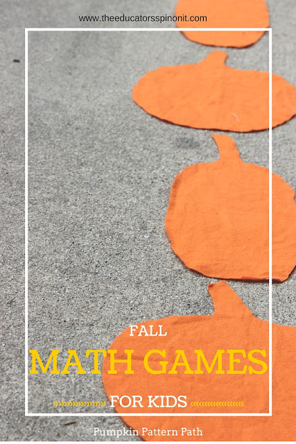 Pumpkin Pattern Path Math Game, a FUN math game that combines movement and patterns. Great for outdoor math lessons.