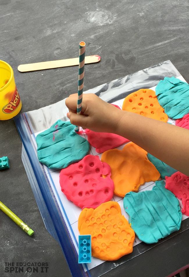 Playdough sensory activity for the book Llama Llama Red Pajama