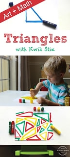 Teach My Child About Triangles: MATH + ART with Kwik Stix. A fun sibling activity for afterschool that reinforces academic content in a playful, creative way!