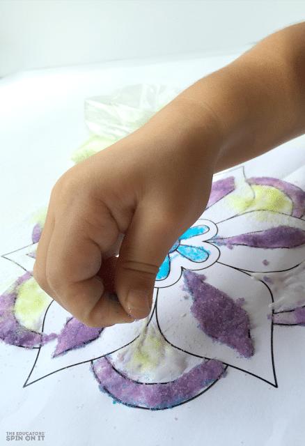 Rangoli Craft Idea for Kids for Diwali using colored sand