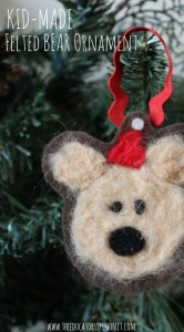Felted Bear Ornament for Christmas