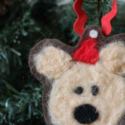 Kid-Made Felted Bear Ornament for Christmas