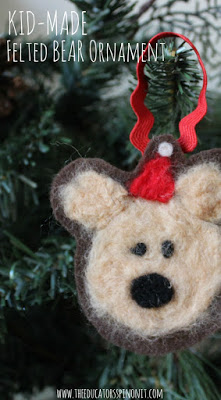 Kid-Made Felted Bear Ornament for Christmas inspired by the book Bear Stays up For Christmas