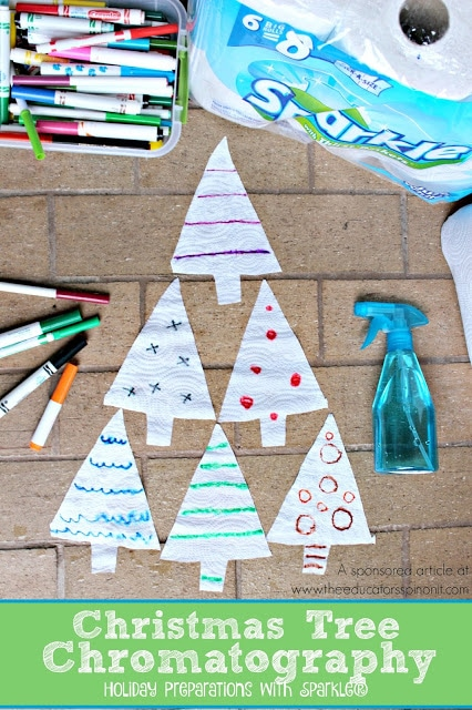 Christmas Tree Chromatography, a science activity for kids to make, talk about and use to decorate with : Holiday Preparations with Sparkle®