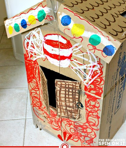 Gingerbread House Ideas for Kids using Recycled Cardboard Box