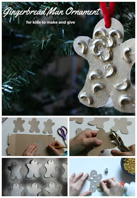 Easy Gingerbread Man Ornament to make with noodles. Great for toddler, preschool, and kindergarten.