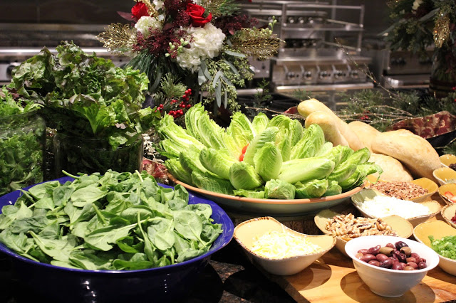 Lettuce options for a Christmas Salad Bar