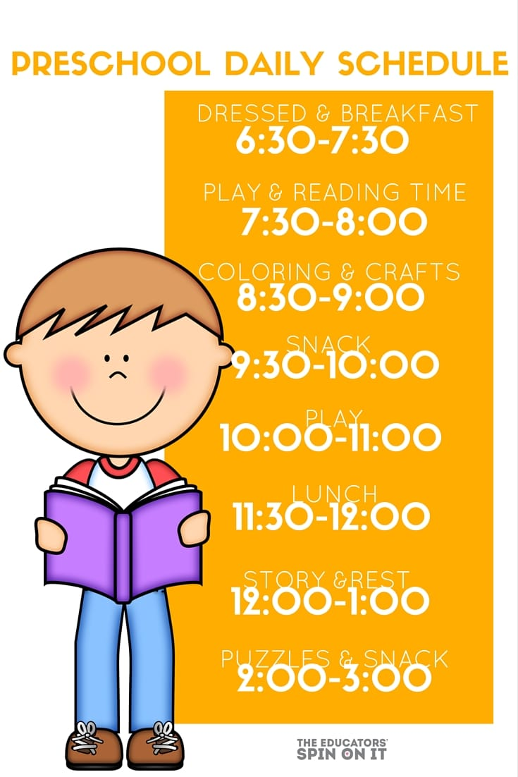 Preschool Daily Schedule , a homeschool schedule for 3-5 year olds