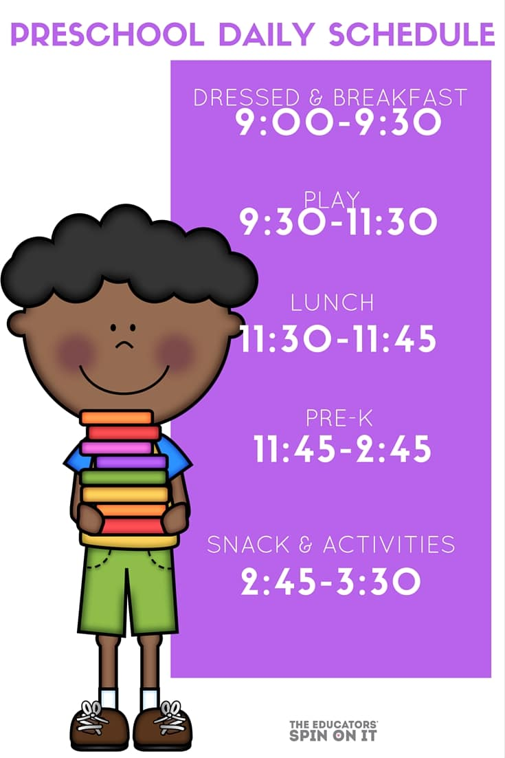 One families Preschool Daily Schedule for at home play and learning