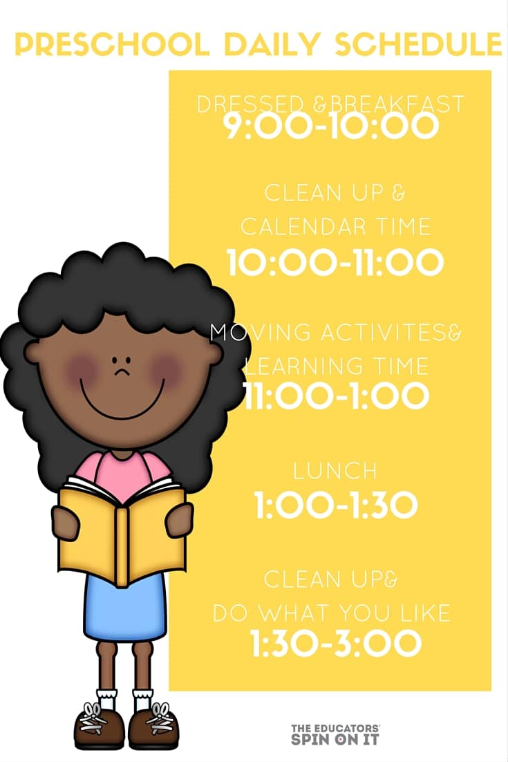 Preschool Daily Schedule for at home learning