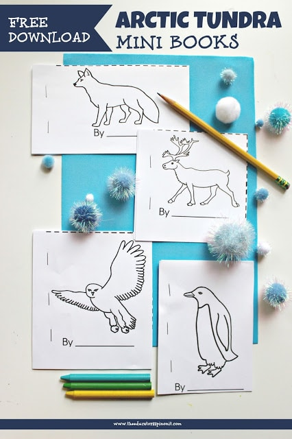 Print and assemble these free arctic animal mini books for your writing or literacy center.