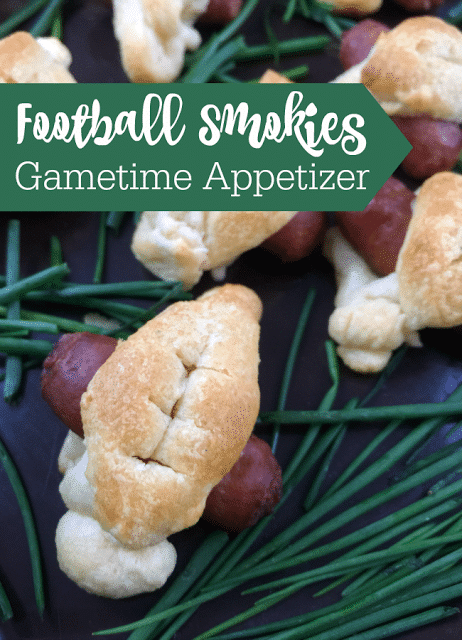 Football Shaped Appetizer using little sausages and premade dough with chives dip