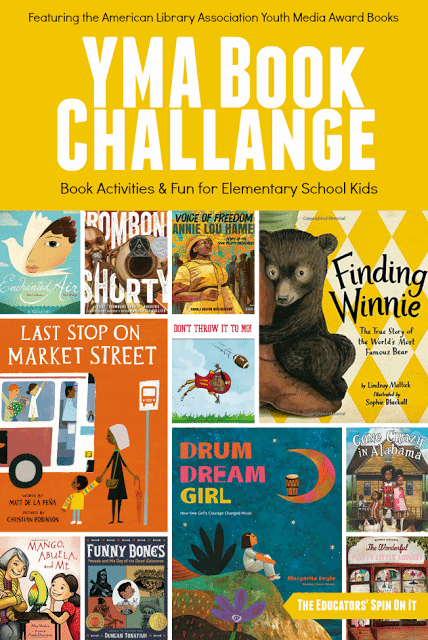 YMA Book Challenge featuring 2016 award winning books and book activities for kids.