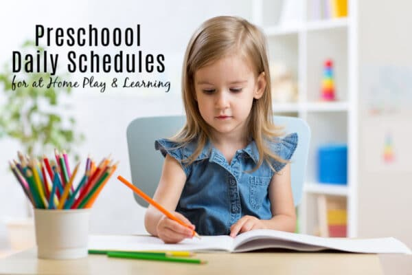 Preschool Daily Schedule ideas showing a child sitting at table working with preschool toys in background