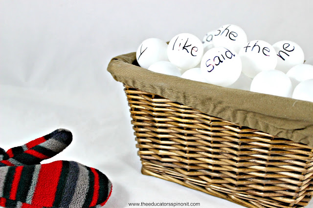MItten and sight word snowballs in a basket