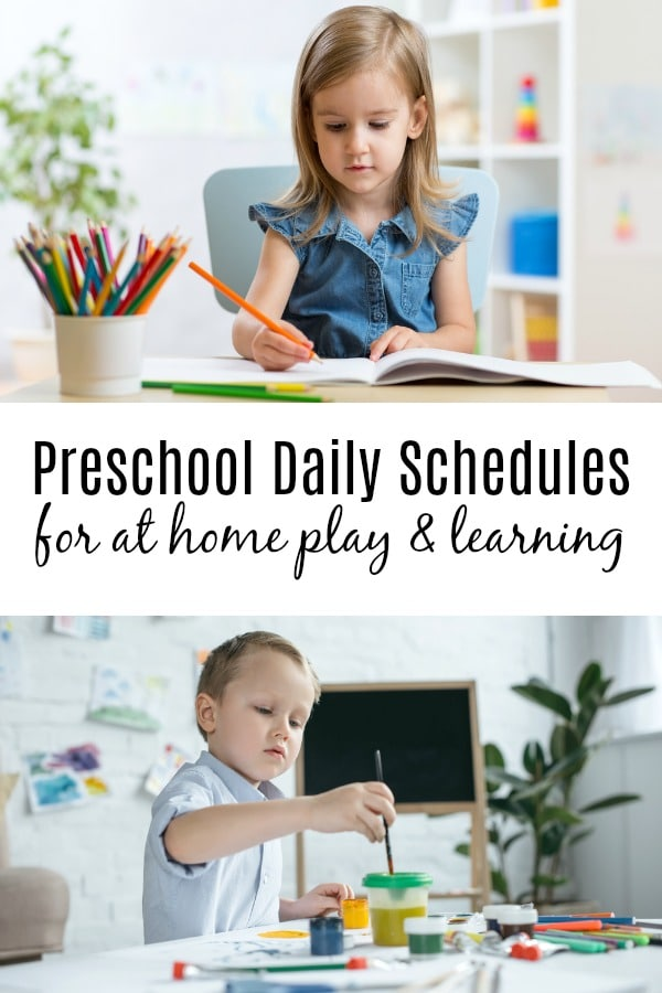 Preschooler working at home doing preschool activities