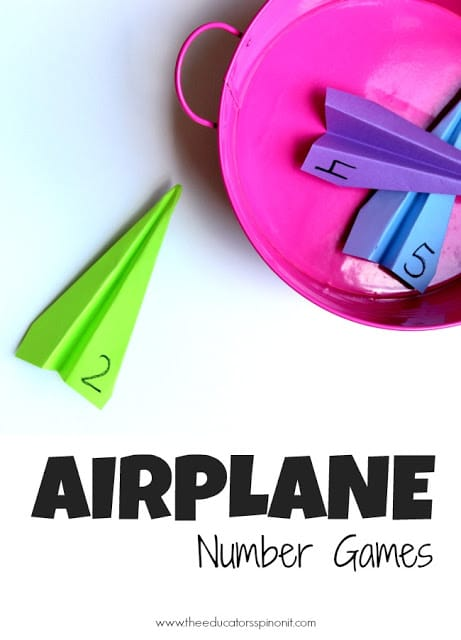 Airplane Number Games for kids to practice recognizing numbers 1-10. Easy to make, fun to play. 3 more game variations included!