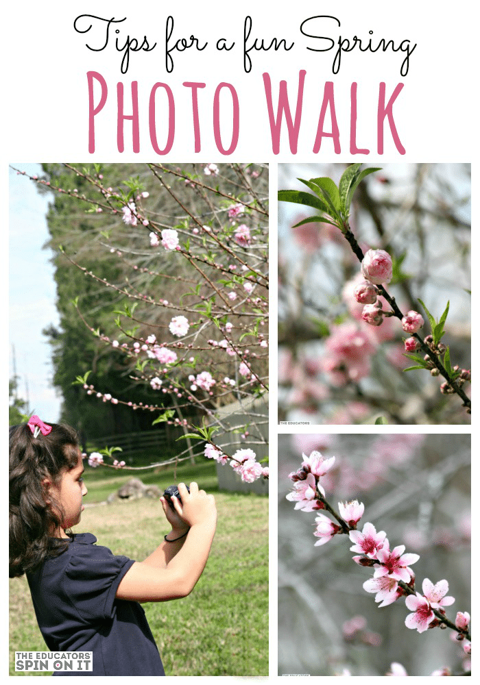child with camera taking Spring Photos of flowers in trees