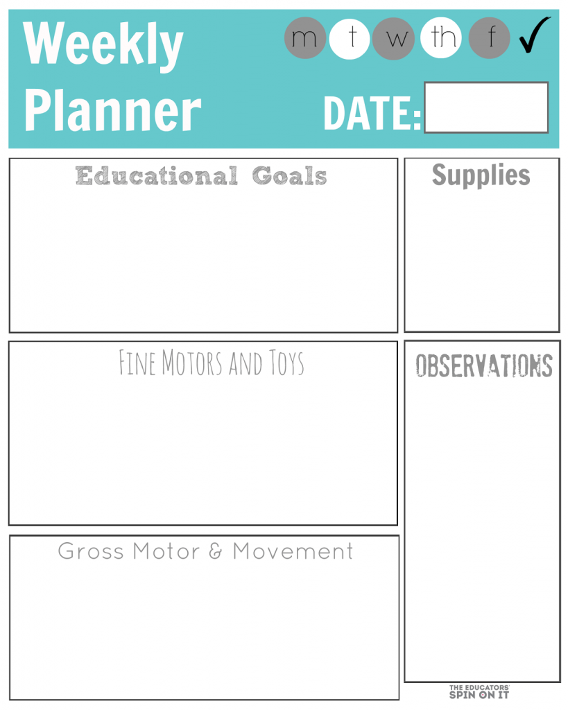 Weekly Planner from The Educators' Spin On It
