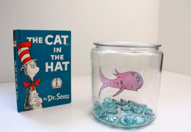 Fishbowl with letter gems and fish from the book The Cat in the Hat by Dr. Seuss