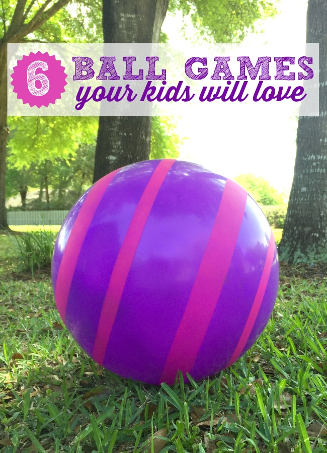 Large Purple Ball with hot pink stripes on grass with ball games for kids featured