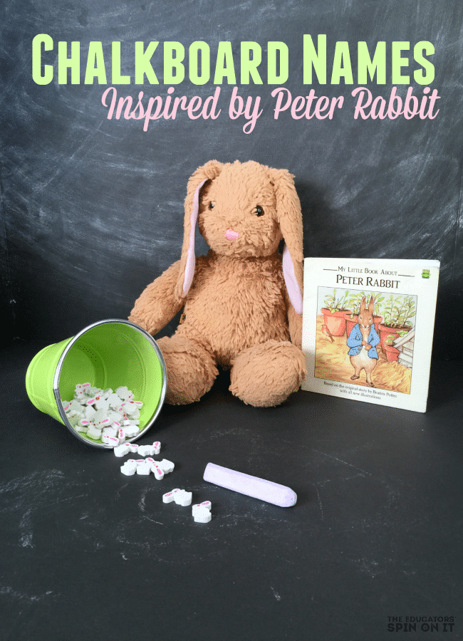 Chalkboard Name Game for Easter inspired by the Tale of Peter Rabbit