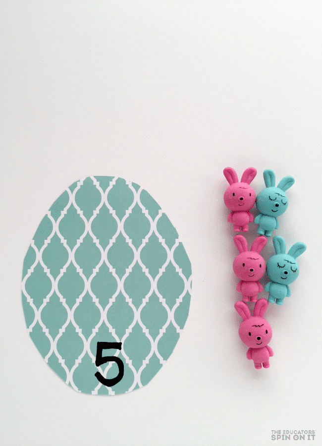 Easter Bunny Math Game for Preschoolers