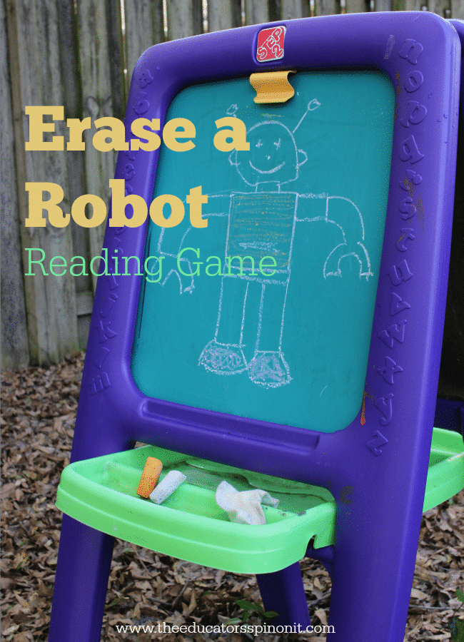 Erase a Robot Reading Game gets kids outside and READING! Fun & Easy to make and play. Perfect for kids ages 3-7!