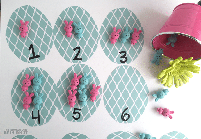 Learning one to one correspondence for Easter Math Game for Preschoolers