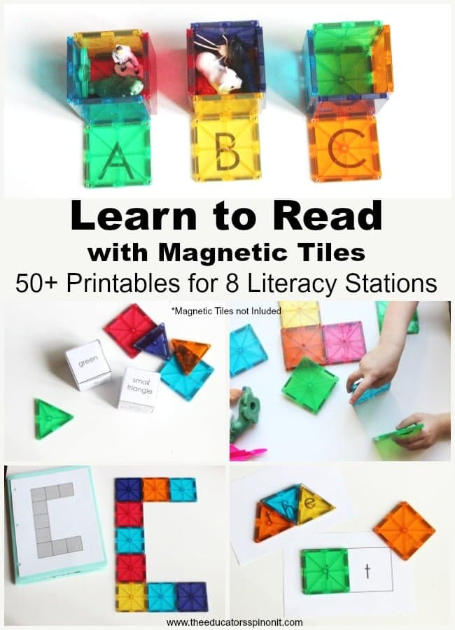 Learn to read with magnetic tile literacy stations