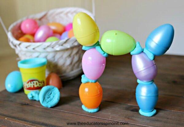 Easter Eggs stacked using Playdough for STEM Challenge