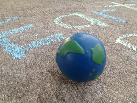 earth ball outside