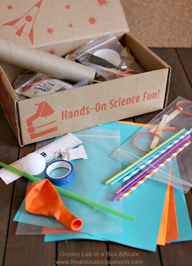 Groovy Lab in a Box is a monthly STEM kit that encourages critical thinking, problem solving and fun!