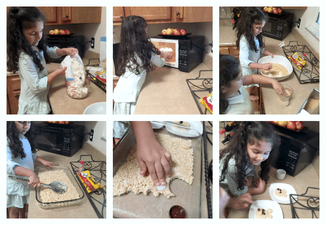 Making Rice Crispy Treats with Kids to create a Teddy Bear Picnic Dessert