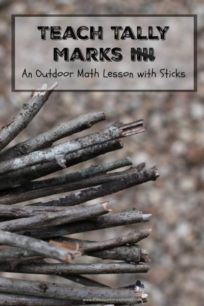 Teach Tally Marks, An Outdoor Math Lesson with Sticks