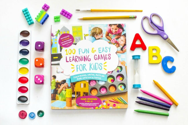 100 Learning Games Book Cover and Kid Supplies