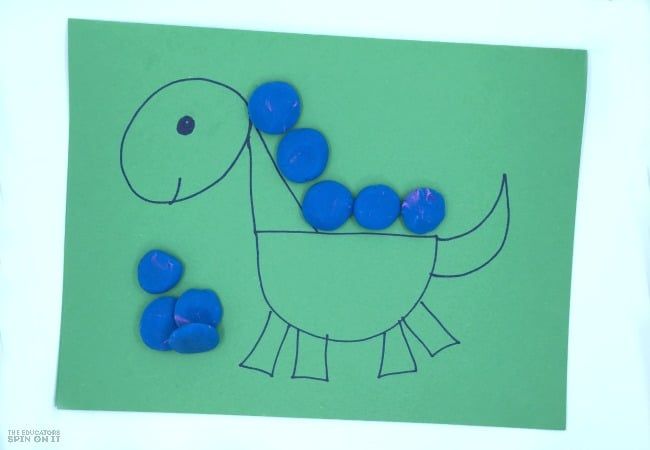 Dinosaur Game for Kids with Playdough and Shapes