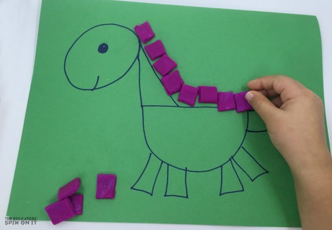 Dinosaur Shapes for Kids with Playdough