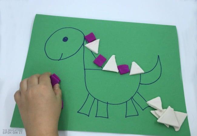 Dinosaur Shapes Patterning with Playdough