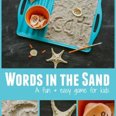 Kids Writing Game with Sand and Seashells