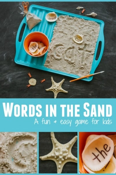 sight words written in sand by copying sight word on seashell