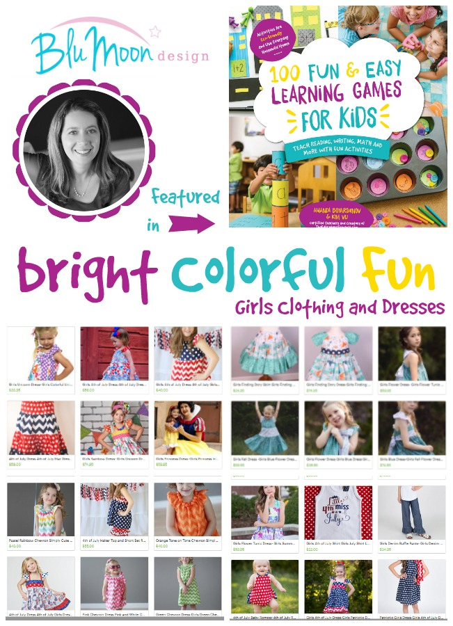 Blue Moon Design: Bright, Colorful, FUN clothing for girls Featured in 100 Fun & EASY Learning Games for Kids