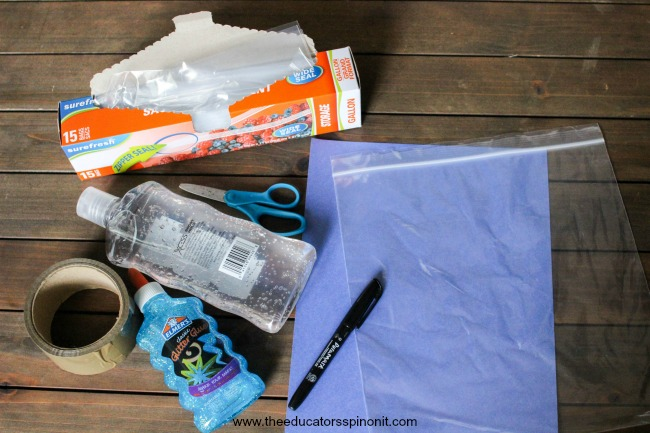 Supplies needed for Finding Sight Words with Dory Sensory Bag