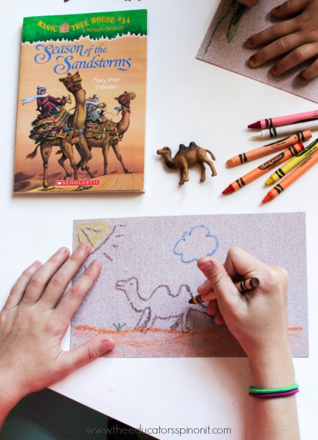 The Ultimate List of Magic Tree House Books and Accompanying Activity Ideas: Sandpaper Camel Drawings.  ART + READING