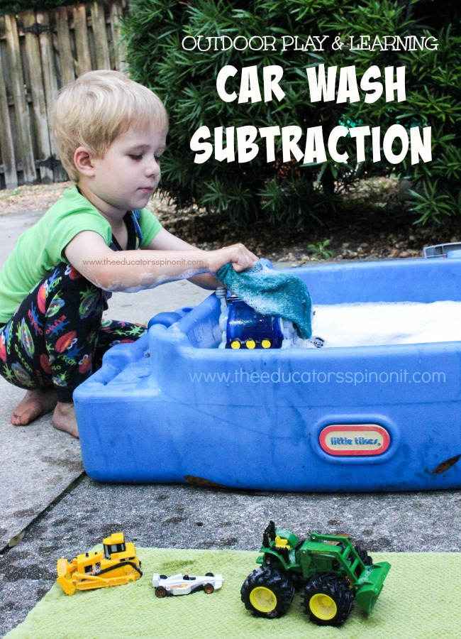 Car Wash Subtraction: Child having fun washing cars and learning math outdoors