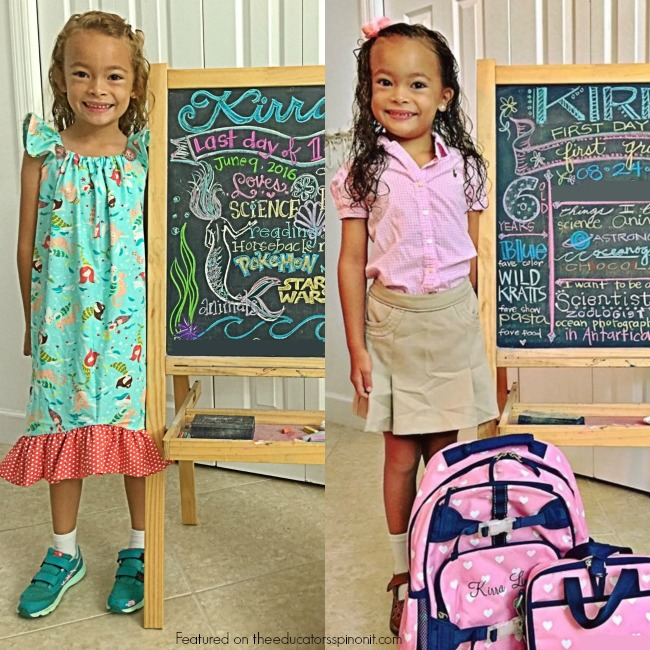 Chalkboard markers on a chalkboard make a great photo prop to show what your child likes at the begining and end of school