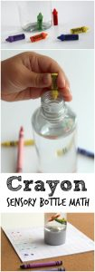 Crayon Math Game with Sensory Bottle for Kids