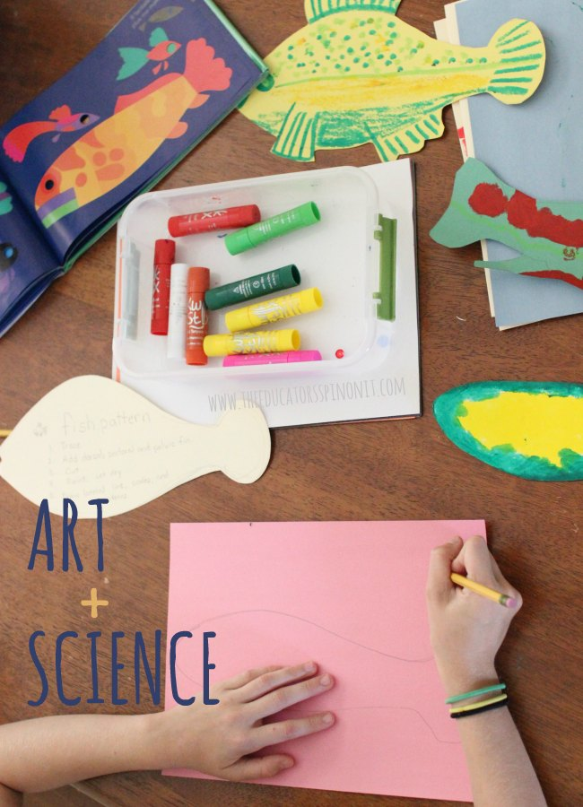 Open Ended Art and Science Fish Project : An easy lesson for kids to learn parts of the fish (like the lateral line and dorsal fin) and get creative with cutting and paint.