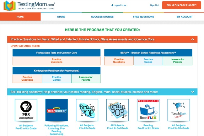 Personalized Program Selected by TestingMom.com